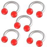 5er set 1,2mm 6mm Hufeisen Edelstahl ohr tragus Stollen augenbrauenpiercing körperschmuck bar Circular Barbell Rot Lippenring BJBZ