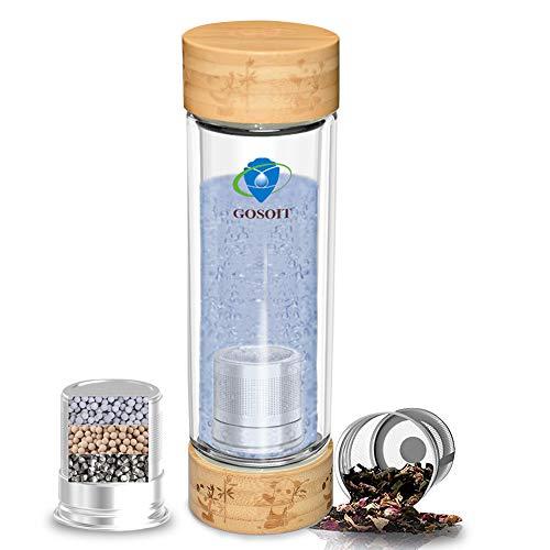 GOSOIT Wasserstoff Wasser Ionisator Flasche Wasserstoffreiche Tasse mit Teeflasche Sieb Doppelwand Teebereiter Glas Machen Wasserstoffgehalt bis zu 800-1200 PPB…