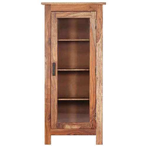 Festnight Highboard 50×30×110 cm Massivholz Sheesham Retro Bücherschrank Retro-Möbel Aufbewahrung Wohnzimmerschrank Mit 4 Fachböden und 1 Glastür
