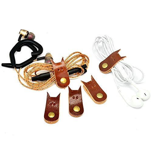 CAILLU Cord Organizer Headset Headphone Earphone Wrap Winder,Power Cord Manager,Cable Ties,Cable Winder with Genuine Leather Handmade cord taco 5-Pack