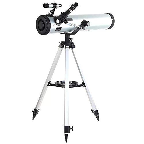Rendimiento telescopio Reflector telescopio astronómico 700-76 con azimutal Montaje Ajustable Trípode de Aluminio for Niños Niños Adolescentes Adultos (Color: como se Muestra, Tamaño: 700 mm) WUTAO1