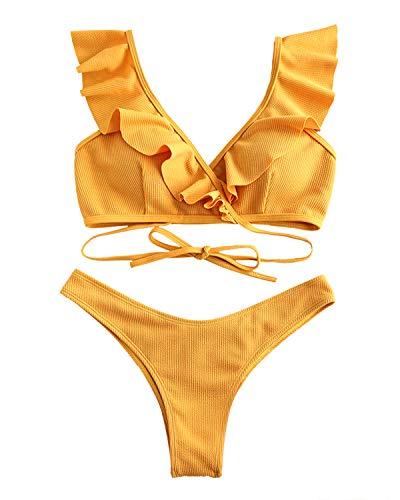 ZAFUL Wikkel bikiniset met ruches geribde Scrunch Butt bikinis badpak set