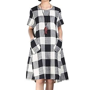 Women's Linen Shirt Dresses Summer Casual Short Sleeve Plaid Tunic Mi...