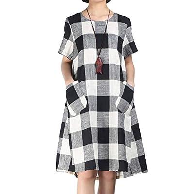 Women's Linen Shirt Dresses Summer Casual Short Sleeve Plaid Tunic Midi Dress