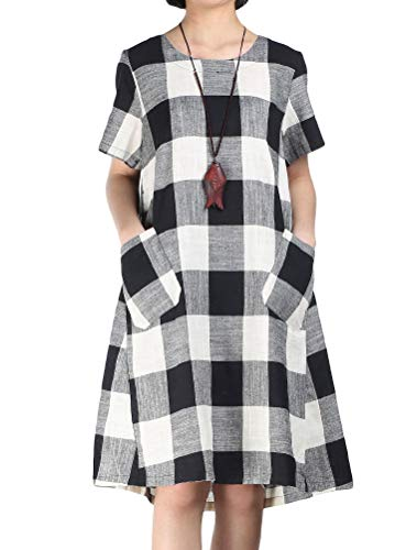 Women's Linen Shirt Dresses Summer Casual Short Sleeve Plaid Tunic Midi Dress 3