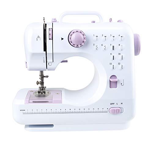 Máquina de coser, Máquina eléctrica automática de costura con pedales, ajustable Pequeña Ligera coser Kit de herramientas para bricolaje del hogar Home (12 puntos, 2 velocidades, blanco y rosa)