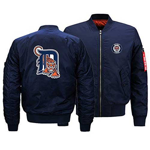 GMRZ MLB Herren Jacke, Mit Detroit Tigers Logo Major League Baseball Team Sweatshirts Fans Jerseys Sweatjacke Mit Warm Winter Outdoor Ski-Jacket,A,3XL