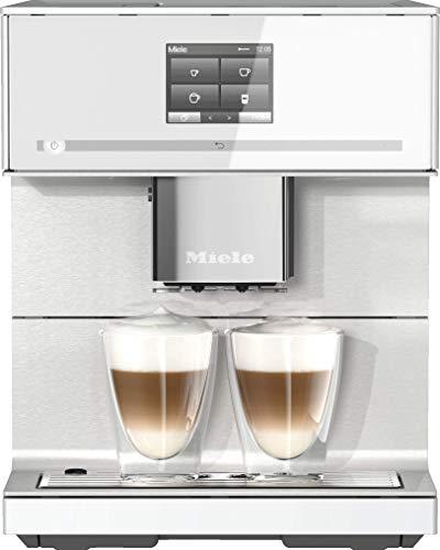 Miele CM 7350 Kaffeevollautomat (Smartphone bedienbar mit WiFiConnect, Kaffeemaschine für Bohnen, Pulver und Tee, automatisch einstellbaren Zentralauslauf) weiß