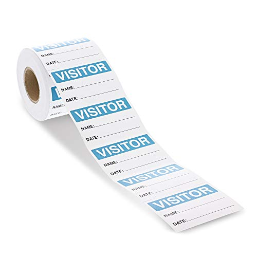 Rollo de pegatinas de visitante, etiqueta de nombre, etiqueta azul y blanca (3 x 2 pulgadas, 500 unidades)