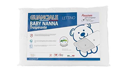Baby Nanna cuscino neonato, 40x30, cuscino antisoffoco neonato,100% italiano, cuscino basso nido neonato, cuscino culla ideale anche per lettino bambino e lettino neonato.