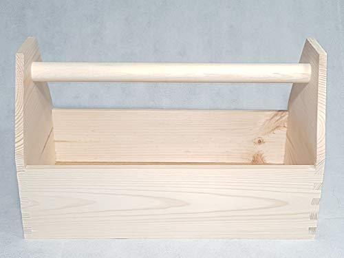 Werkzeugkiste Montagekiste geleimt, Natur Holz LxBxH 42x21x26 cm, Vollholz