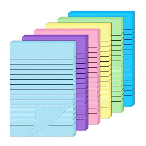 Note Adesive 6 Pezzi Foglietti Adesivi Foderati Colorati Blocchi Note Adesive per Ufficio Casa Scuola 10 x 15 cm
