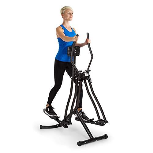 Klarfit Bogera X2 - Bicicleta elíptica, Ordenador de Entrenamiento, Acolchado para Abdomen Regulable, Pedales Bajos, Rstructura metálica con Revestimiento en Polvo, Plegable, Pantalla LCD, Negro