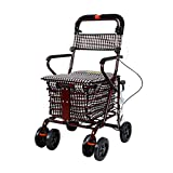 Universal Two-Wheeled Shopping Fishing Trolley with Handbrake, Foldable Walkers for Older People Walking