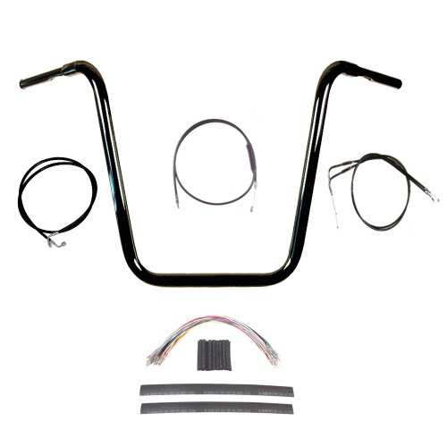 Hill Country Customs 1 1/4' BBlack 20' Ape Hanger Handlebar Kit for 2008-2011 Harley Dyna Fat Bob models