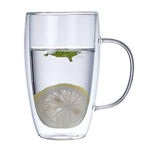 PHILSP Tazas de café de Vidrio de Taza, Vasos de café de Doble Pared aislados calientan R 450Milliliters