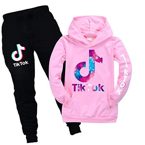 JIAOJIA Sportswear Langarm Pullover Hoodie 2 Stück Outfits Set Jogging Trainingsanzug Unisex Frauen Männer Tik Tok 140cm
