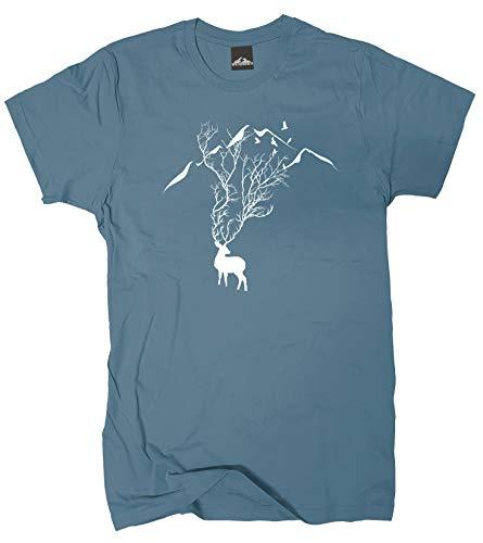 Wolkenbruch® T-Shirt Berge Hirsch Geweih, stoneblue, Gr.L