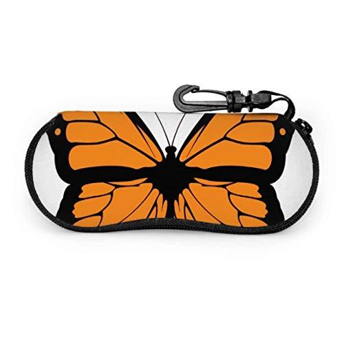 AEMAPE Estuche de anteojos grande y hermoso de mariposa monarca Estuche de viaje para niños Gafas Estuche blando de neopreno portátil ligero con cremallera Estuches para anteojos para hombres