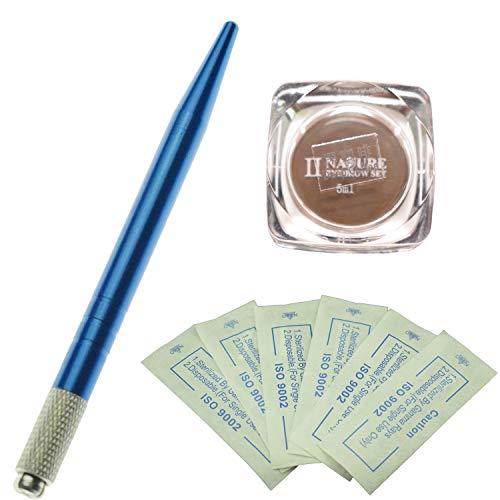 Kit permanent de microblading de sourcil de stylo de couleur bleue professionnelle avec 10 aiguilles de Microblading de PC et un pigment de microblading de bouteille (Café profond)