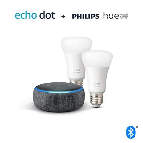 Echo Dot (3rd Gen), Charcoal Fabric + Philips Hue White Smart Bulb Twin Pack LED (E27)   Bluetooth & ZigBee compatible…