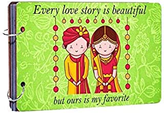 Occasion The shope Every Love Story is Beautiful Wooden Photo Album (26 cm x 16 cm x 4 cm, Green)