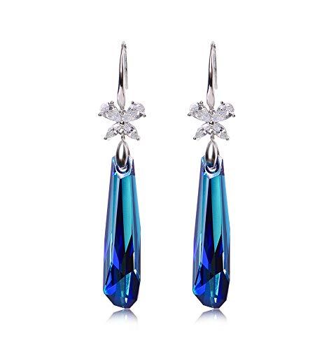 Jambala Pendientes Cristal Azul Plata esterlina Pendientes Largos de Verano Coreano