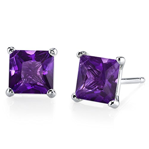14K Gold Amethyst Solitaire Studs
