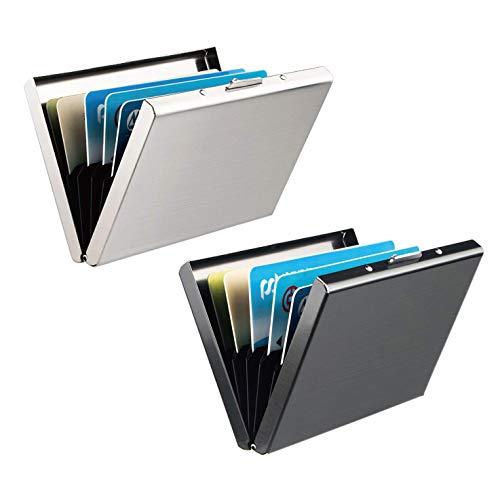 RFID Blocking Porta Carte di Credito, Leenou 2 Pezzi Portafoglio Carte Credito in Alluminio, Portafoglio Elegante Viaggi - Business, ID, Assicurazioni, di Debito, Donna e Uomo (9.6 * 6.5 * 1cm)