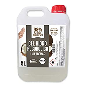 Gel hidroalcohólico, higienizante de 5 litros. Aroma suave a COCO. Glicerina natural para el cuidado piel. 70% Alcohol. Desinfecta e higieniza cuidando tu piel.