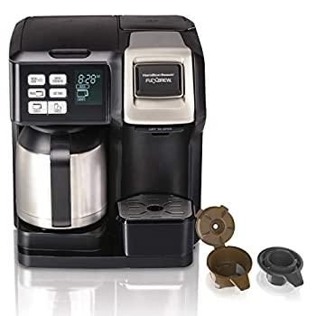 Hamilton Beach FlexBrew Trio 2-Way Single Serve Coffee Maker & Full 12c Pot Compatible with K-Cup Pods or Grounds Combo Black and Stainless