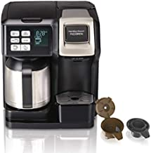 Hamilton Beach FlexBrew Trio 2-Way Single Serve Coffee Maker & Full 12c Pot, Compatible with K-Cup Pods or Grounds, Combo, Black and Stainless