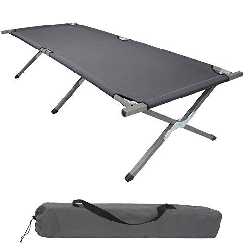 BB Sport Feldbett Klappbett XXL 200 x 70 x 52 cm Stabiles Campingbett bis 150 kg Belastbar Tragbar Tasche Liege Reise Bequem, Farbe:grau
