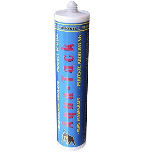 Brosil Aqua-Tack Schwarz, Polymer Spezialkleber Reparatur Dichtmasse | Kleber für Teichfolie | zum Abdichten von Glas, Naturstein, Holz, Stahl, Plexiglas, PVC- und EPDM Folien, GFK
