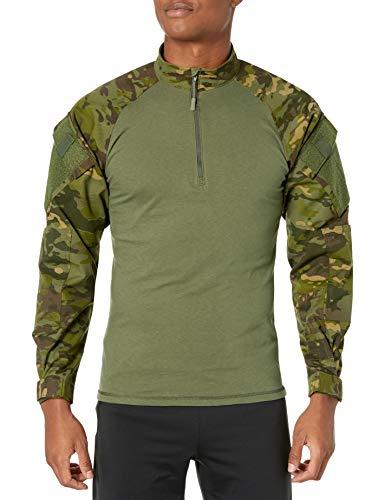 Tru-Spec - Camicia da Combattimento da Uomo con Zip a 1/4, Uomo, 2537005, Multicam Tropic/Olive Drab, L