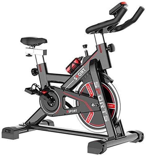 Bicicleta estática de interior silenciosa con monitor de frecuencia cardíaca, pantalla LCD, sensor de pulso, mango y asiento ajustables, bicicleta estática resistente