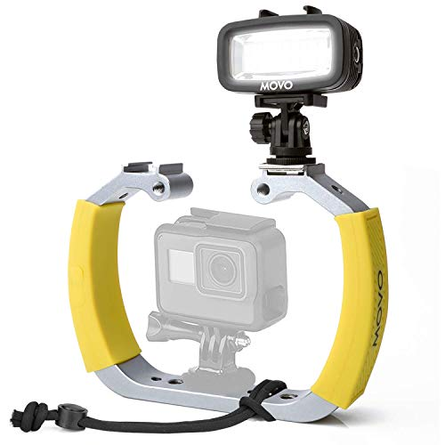Movo Diving Rig Bundle with Waterproof LED Light - Compatible with GoPro HERO3, HERO4, HERO5, HERO6, HERO7, HERO8, and DJI Osmo Action Cam - Scuba Accessories for Underwater Camera