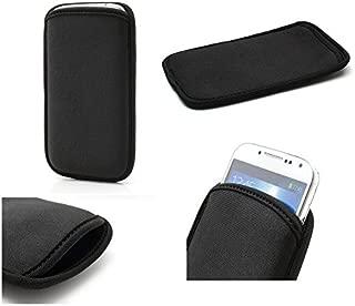 2019 DFV mobile Multi-functional Universal Vertical Stripes Pouch Bag Case Zipper Closing Carabiner for Google Pixel 4 XL - BLACK XXM 18 x 10 cm