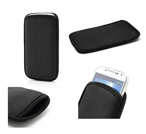 DFVmobile - Neoprene Waterproof Slim Carry Bag Soft Pouch Case Cover for Nokia Lumia 925 - Black