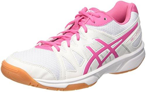 ASICS Damen Gel-Upcourt Badminton Schuhe, Mehrfarbig (White/Azalea Pink/White), 42.5 EU