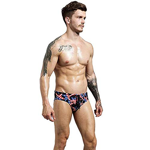 MSL Mens American Flag Swimwear Briefs Patriotic Beach Swimsuit Sexy Bikini Swimwear Soft