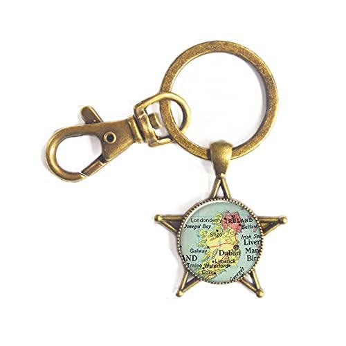 Ireland map Key Ring Charm, Ireland Keychain Resin Key Ring,Glass Photo Cabochon,Irish Jewellery,Ireland map Jewelry,PU228