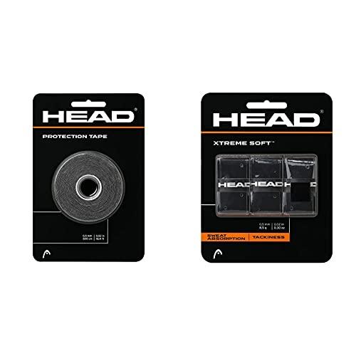 Head Protection Tape Cinta Protectora, Unisex Adulto, Negro + Xtremesoft Overgrip De Tenis, Unisex Adulto, Negro