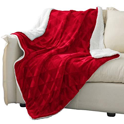 Exclusivo Mezcla 127 x 178 cm stor filt, vändbar borstad flanell fleece och plysch sherpa filt (röd) – dekorativ, lätt, mjuk och varm