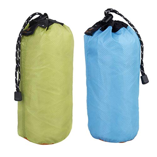 Yundxi 2PCS ultraleggero in nylon impermeabile sacchi set cordino sacco sacca da viaggio campeggio escursionismo, Blue+Green XXL(30L)