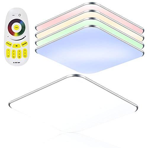 SAILUN 24W RGB Ultraslim LED Deckenleuchte Modern Deckenlampe Flur Wohnzimmer Lampe Schlafzimmer Küche Energie Sparen Licht Wandleuchte Farbe Silber (24W Silber RGB)