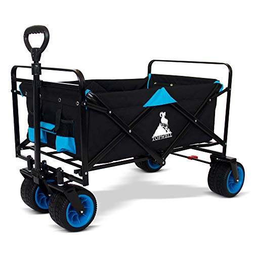 TOPWELL 120KG Capacity Folding Camping Cart Outdoor Push Wagon Trolley Trailer Transport Free Standing Collapsible Utility Grocery Canvas Fabric Rolling Buggies Garden Sport Wagons Black