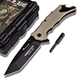 HX OUTDOORS Spring Assisted Survival Knife,Pocket Hunting Knife,Black Blade Folding Knife with fire Starter and Whistle (TAN)