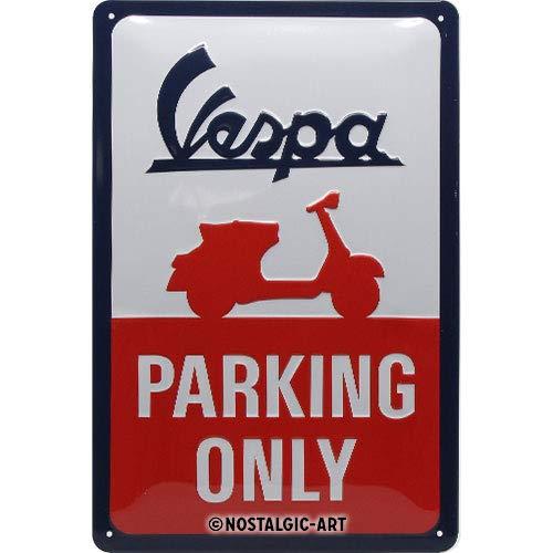 Nostalgic-Art Tabliczka blaszana w stylu retro Vespa – Parking Only – pomysł na prezent dla fanów skuterów, z metalu, styl vintage do dekoracji, 20 x 30 cm