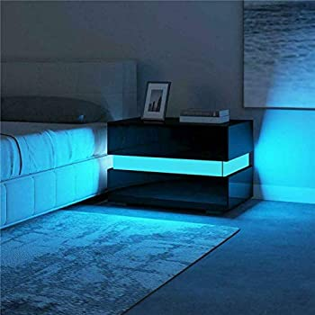 Nightstand Modern LED Light Bedroom RGB LED Nightstand High Gloss with 2 Drawers Small Sofa End Side Table Living Room Modern Corner Storage Cabinet for Livingroom,Black a